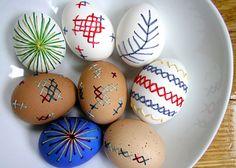 broderade ägg
