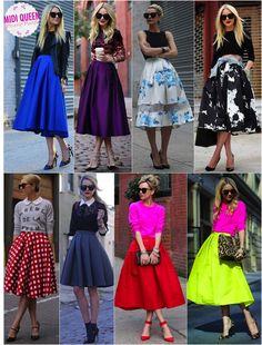 Pode ser? Saia midi rodada | Fashionismo | Thereza Chammas