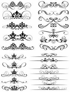 Декоративные линии и завитки в викторианском стиле - векторный клипарт   Victorian decorative vector elements