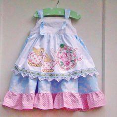 Toddler Girls Tea Party Apron Knot Dress Ruffled MY OOAK Custom Order. $65.00, via Etsy.