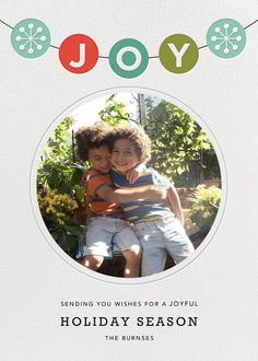 Joyful Garland by Petit Collage for Paperless Post. Customizable and available with individual recipient addressing. View more holiday cards on paperlesspost.com. #garland #joy #joyful_garland #pom_pom_garland #garlands #photo_card