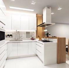 1- Cozinha branca com amadeirado e bancada de Quartzo Stone branco puro!     Gente, vejo que quando estamos nessa fase de escolha da ped...