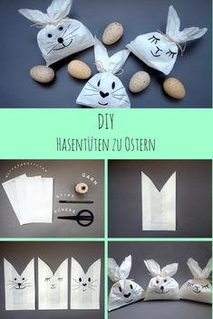 DIY: Cute bunny bags for Easter - The mummy log with a wink - Frau-Mut . Happy Easter, Easter Bunny, Diy And Crafts, Crafts For Kids, Bunny Bags, Diy Hanging Shelves, Cute Bunny, How To Make Paper, Easter Crafts