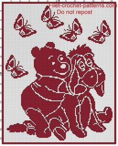 Copertine Uncinetto Filet Complesso Baby Blanket Winnie the Pooh Filet Crochet P. Copertine Uncinetto Filet Complesso Baby Blanket Winnie the Pooh Filet Crochet P. Filet Crochet Charts, Crochet Blanket Patterns, Baby Blanket Crochet, Baby Patterns, Crochet Baby, Stitch Patterns, Winnie The Pooh Blanket, Crochet Minecraft, Cross Stitch Silhouette