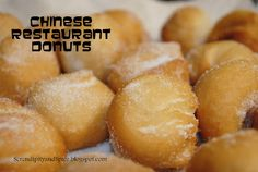 """These 2 Ingredient Chinese Restaurant Donuts are the ultimate """"cheater"""" recipe. There is one secret ingredient that makes these donuts so good and you won't be able to guess what it is! Köstliche Desserts, Delicious Desserts, Dessert Recipes, Yummy Food, Breakfast Recipes, Yummy Eats, Chinese Donuts, Chinese Food, Chinese Desserts"""