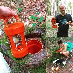 Lovely mystery cache.  It looks like Sputnik's little brother got caught in this geocache!  A neat looking cache but you'd have to own the property or have permission to hollow out a stump, & then there are the guidelines about holes in general....  (pic by geocule)  #IBGCp