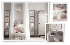 Designed as a girl's room but some elements would translate well into your space. Gorgeous nightstands,  vanity, headboard, bench and colors!