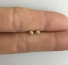 Diamond Cut Ball Stud Earrings 14k, Ball Studs, Sparkly Earrings, 14k Rose Gold Earrings, 14k Yellow Gold Earrings, Everyday Stud Earrings by MilestonesByABC on Etsy