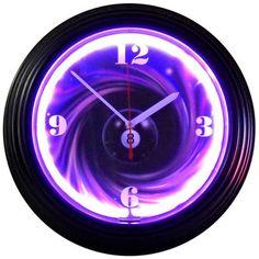 Retro Eight Ball Swirl Neon Clock with multi-tiered art deco style rims, a black rim with a single ring of purple neon.