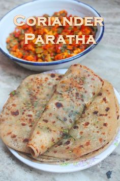 Delicious coriander paratha which is so good. It is a great lunch box recipe. Puri Recipes, Paratha Recipes, Quick Recipes, Gourmet Recipes, Vegetarian Recipes, Cooking Recipes, Healthy Recipes, Jowar Recipes, Indian Snacks