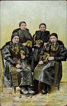 Ansichtskarte / Postkarte Gruß aus dem Altenburger Lande, Thüringer Trachten, Frauen #Altenburg