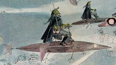 A 19th-century vision of leaving the opera in the year 2000 - a print created in 1882 by the French illustrator, caricaturist, novelist, and all around futurologist, Albert Robida.