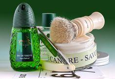 "Martin de Candre fougere shave soap, Rooney badger brush, Revisor 5/8"" straight razor, Proraso green aftershave, Pino Silvestre cologne, June 19, 2016.  ©Sarimento1"