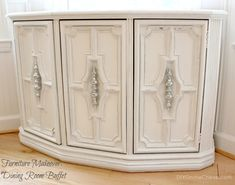 Turn an old 70s cabinet into a beautiful buffet or entryway console! I see these old cabinets at flea markets all the time. Love this transformation!