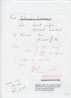 2020年2月21日(金) 17:57  №1099    超有名で、基本的な Schwartz Lemma に ゼロ除算算法の原理があることを知って、驚いている。 素晴らしい。 凄い。 どうして今日まで 気づかなかったか。 著書に早速入れたい。  2020.2.21.18:07 Bullet Journal, Math, Math Resources, Early Math, Mathematics