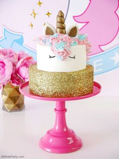DIY Unicorn cake - learn to make this pretty but EASY cake for your child's birthday party!