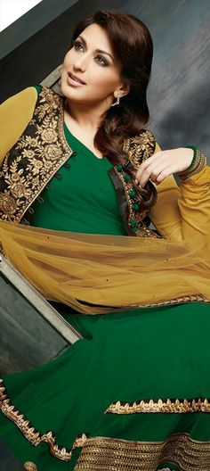 408938: #Anarkali #Bollywood #Sonalibendre #Green #Embroidery #getthislook #Jacket