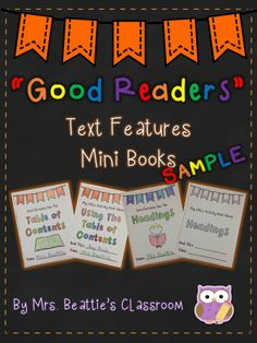 """This """"Good Readers"""" Text Organization Mini Books package from Mrs. Beattie's Classroom contains 13 mini books that will complement any Language Arts program, all year long! Grab this FREE sample! Differentiation In The Classroom, Teaching Reading, Guided Reading, Teaching Ideas, Primary Teaching, Learning, Informational Writing, Nonfiction, Good Readers"""