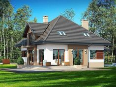 Zdjęcie projektu Opałek II N Home Building Design, Building A House, House Outside Design, House Design, Brick Siding, Modern Bungalow House, Micro House, Exterior House Colors, Facade House