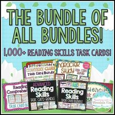 An absolute must-have, MASSIVE reading task card bundle. There are over 1,000 Reading Skills Task Cards in this huge discounted bundle of all my bundles (PLUS three free sets!) Many cards have multiple passages per card, including paired passages.$