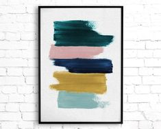 Abstract Painting Featuring Teal, Mustard, Navy Blue and Blush Pink Brush Strokes, Contemporary Printable Wall Art, Teal Decor Abstract Art - Diy Wall Art Diy Wall Art, Wall Art Decor, Teal Wall Art, Diy Artwork, Extra Large Wall Art, Abstract Wall Art, Abstract Portrait, Portrait Paintings, Painting Abstract