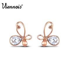 Viennois 2016 new rose gold plated swarovski crystal butterfly stud earrings #Viennois #Stud