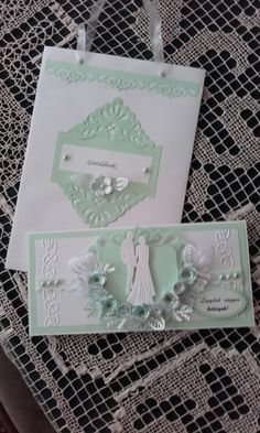 Gratuláló lap esküvőre kis táskával. Wedding card with bag.