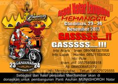 Aspal Natar Lampung Memanggil... 2nd Anniversary CBCL chapter Natar Gudang Ramashinta Candimas Induk 2 RT 20 Candimas Natar Lam - Sel, 23 - 24 Desember 2017 Info Acara : Irvan 0896681307058 Info Lapak : Hamba 085211030822 Info Rute : Ilham acil 085758588918 Aji 0895336453170 Info Merchandise : Tekun 081279725555