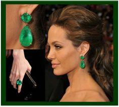 Vestido Strapless, Saphire Ring, Diamond Earrings, Drop Earrings, Green Dress, Emerald, Jewels, Luxury, Hair Styles