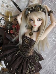 """bjd"" love this Steampunk Dolls, Gothic Dolls, Steampunk Fashion, Steampunk Images, Steampunk Goggles, Ooak Dolls, Blythe Dolls, Barbie Dolls, Ball Jointed Dolls"