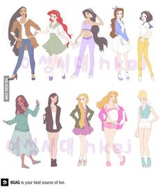 Modern Disney Princesses, but this is actually great outfit inspiration.