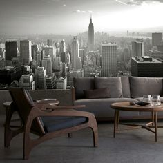 :: WALLS :: excellent value - love this City Skyline BW Mural, Available in 2 sizes: (12' wide x 8.5' high) or (16' wide x 10.5' high) Price $495.00 #walls
