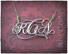 Sterling Silver Calligraphy Script Monogram Necklace or Pendant Personalized Three Initial With Handmade Clasp