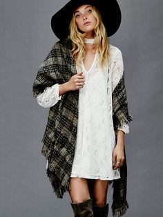 Free People Keyhole Mini Dress, $128.00 :: lace, flannel, denim, wool, leather.  Tis the time of the season