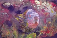 Purple Tropical Fish Fine Art Print Reproduction Watercolor Aquatic Fish Painting