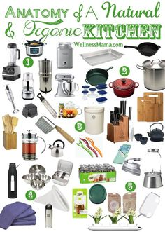 Natural Kitchen Essentials List Most Used Tools & Appliances is part of cooking Kitchen Health - My essential natural kitchen items, cooking tools and health appliances for my natural and organic kitchen Also great ideas for a wedding registry list
