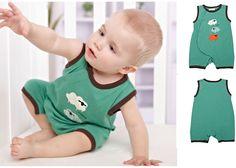 Newborn Baby Toddler Sheep Cotton Sleeveless Bodysuits Romper Green 0-3M #ibaby #Everyday