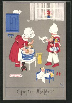 carte postale ancienne: CPA Illustrateur Lia Döring: Grosse Wäsche, Fille waschen ihre Puppen
