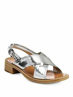 Prada Metallic+Leather+Crisscross+Sandals