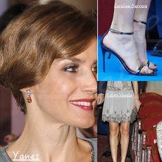 Doña Letizia wore Carolina Herrera heels, Yanes Citrine and diamond white gold earrings, and carried a Felipe Varela beaded clutch. September 17, 2015 in Miami, Florida.