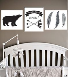 Retro Tribal Nursery Wall Art, Feathers Arrows and Bears, Adventure Awaits Hipster Baby, Black and White Gender Neutral, Shower Ideas 8X10