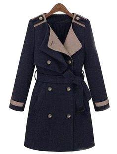 Navy Lapel Long Sleeve Epaulet Drawstring Coat