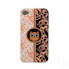 damask pattern with owl iPhone 4/4S case Iphone 4 Cover by Animals Boutique