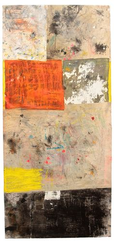 Alfredo Scaroina Me so Horny… 2014 Acrylic, Oil, Oil Stick, Gesso, Paper, Dirt, Spray paint, found fabric, found tarp, charcoal on canvas 94 x 43 inches