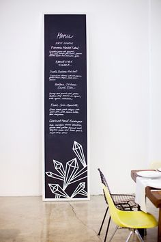 faceted chalkboard wedding menu