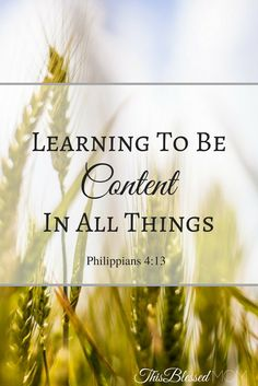 We need to learn to be content in every situation. If we look to Jesus, we will find the peace and joy that we have been longing for.