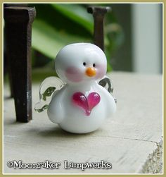 Snow Angel Lampwork Bead