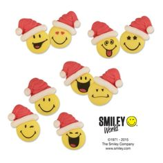 Sugar Smileys with santa hat, flat, assorted