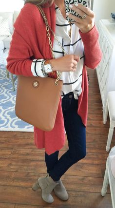 striped top + cozy cardigan + Tory Burch bag + dark wash denim + booties all from the #NSale