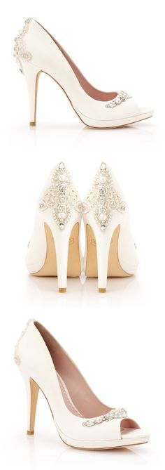 Sexy, super high peep toe Verity from Emmy London. Beautifully embellished with pearl and crystal detailing on the heel and toe.... *swoon*